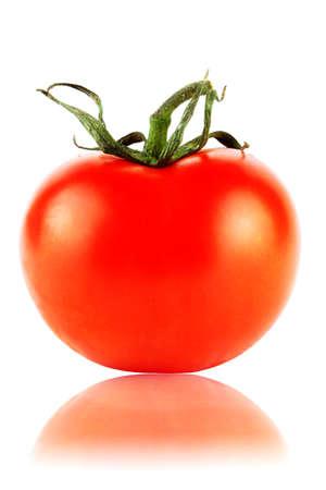 One perfect red tomatos extreme closeup on the white Stock Photo - 11878739