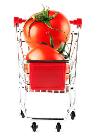 Perfect tomatos in shopping cart on the white background Stock Photo - 11878748