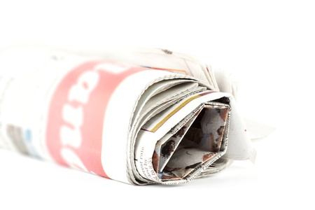 Closeup Newspaper on the white background photo
