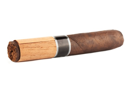 Extreme closeup cigar on the white background photo