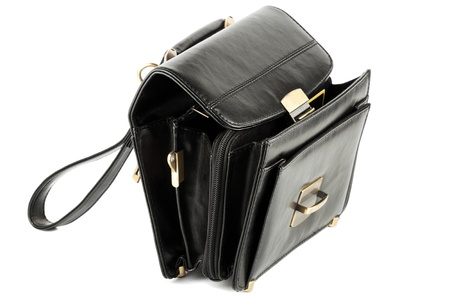 opened bag: Opened Mans black leather business bag on the white background Stock Photo