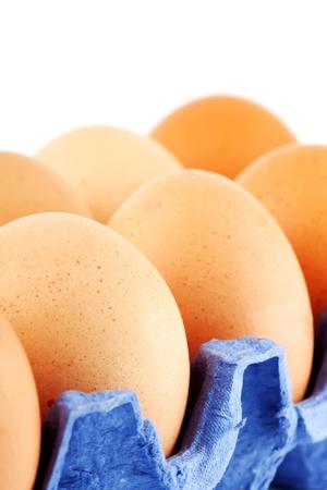 Eggs in carton box closeup on the white background photo