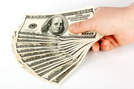 Hand with money on the white background Stock Photo - 12019759