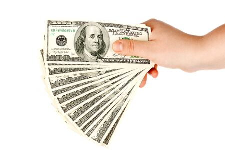 Hand with money on the white background photo
