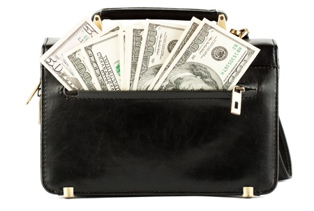 Money in the black bag on the white background photo