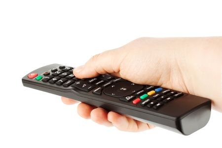 Television receiver Remote controller in a hand on the white photo