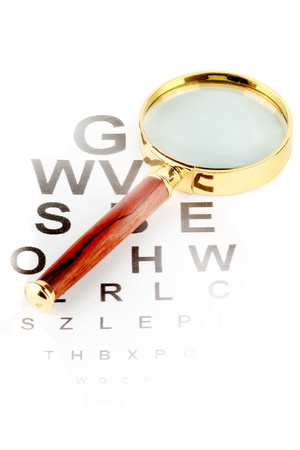 visual perception: Eye Testing Chart with magnifier on the white