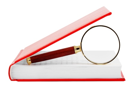 guidebook: Searching. Magnifier with the book on the white background