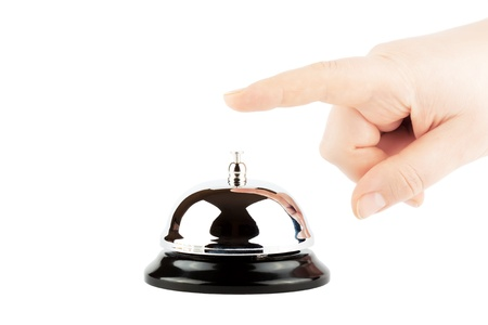 bellman: Ringing a Bell for Service with Hand on the white background