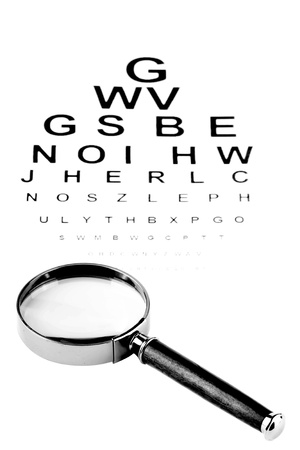 Eye Testing Chart With Magnifier On The White Stock Photo Picture