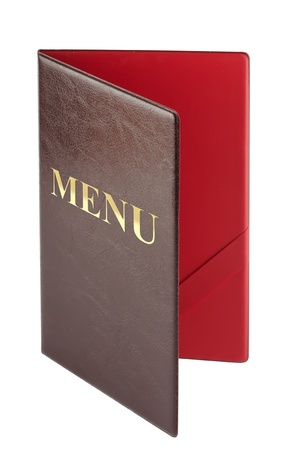 Brown leather cover with Menu sign on the white photo
