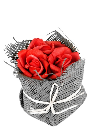 Bouquet of Red Roses on the white background photo