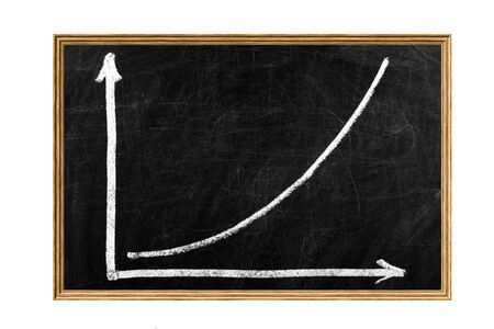 Writing chalk chart shows an increase in business on a blackboard photo