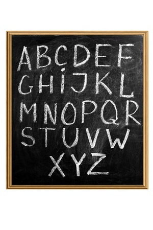 upper case: Letters of English alphabet capital upper case on blackboard Stock Photo