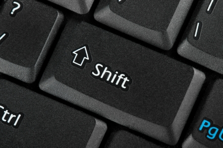 Closeup Shift key focused on a keyboard photo