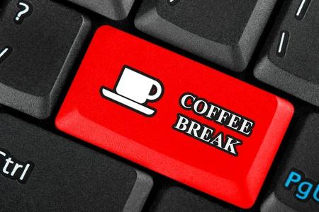 Röd Kaffepaus ikonknappen på ett tangentbord Stockfoto