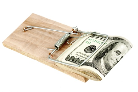 Many banknotes in mouse trap on the white background Stock Photo - 12459797