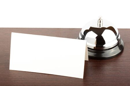 Service Bell with Blank Sign at Hotel Desk Stock Photo - 12459828