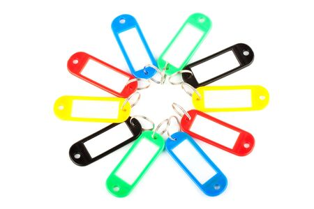 Collection of a colourful key fobs on a white background photo