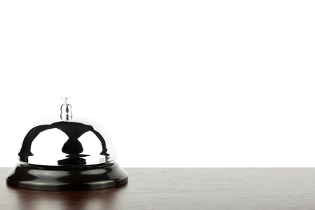 reception desk: Service bell ring on the wooden desk