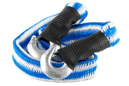 Blue and white towing rope on the white background photo