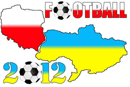 2012 Poland & Ukraine maps on the white background photo