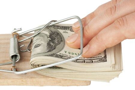Many banknotes in mouse trap on the white background Stock Photo - 12460762