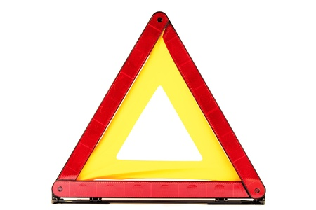 Warning traffic accident sing - red triangle photo