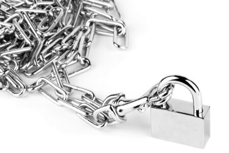 Chain and Lock on the white background photo