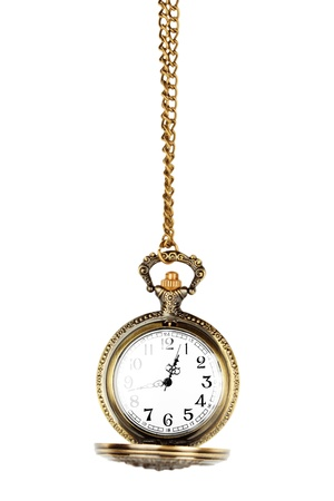 Antique pocket watch on a chain with open lid. photo
