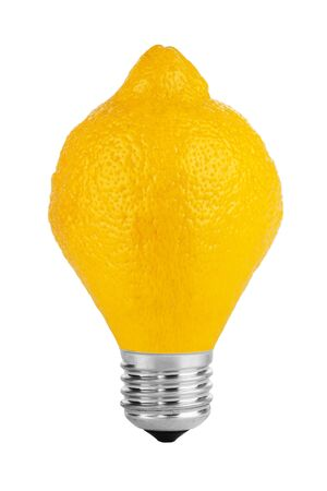 Lemon lamp  Lemon fruit in the form of light bulbs on a white background  photo
