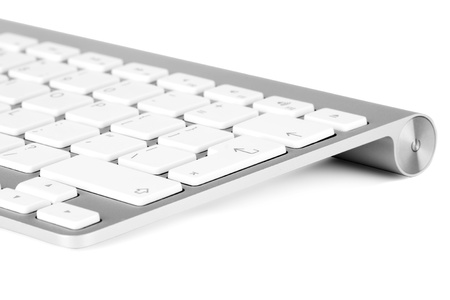 Closeup Aluminum keyboard on the white background photo