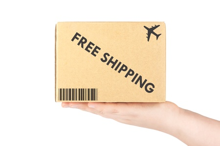 Free shipping concept  Hand holding cardboard box on the white background photo