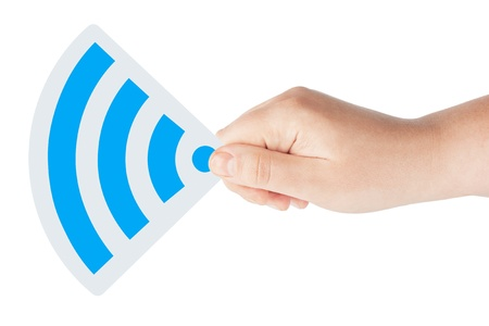 High wireless signal icon in blue with hand on the white background photo