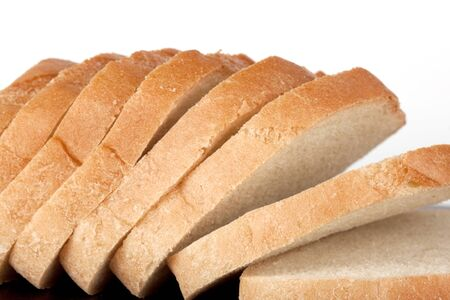 Pieces of bread on the white background Stock Photo - 12787224