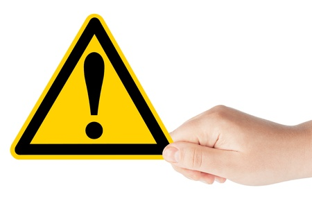 dangerous construction: Danger And Hazard Sign in hand on the white background Stock Photo