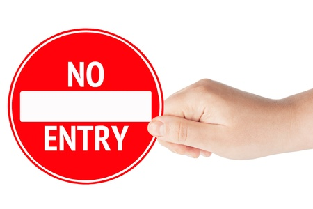 no signal: Round sign No Entry with hand on a white background