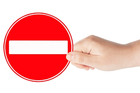 no entry: Round sign No Entry with hand on a white background
