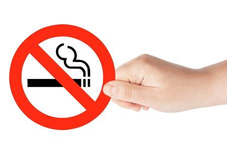 no smoking: No Smoking Sign in the hand on the white background Stock Photo