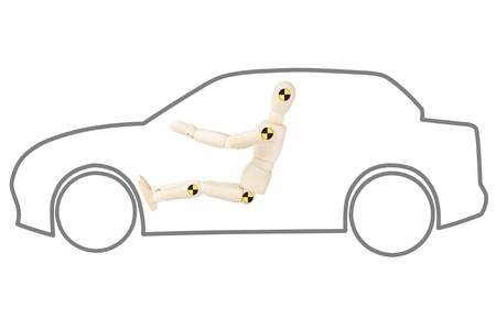 simulate: Crash test dummy in car outline on a white background