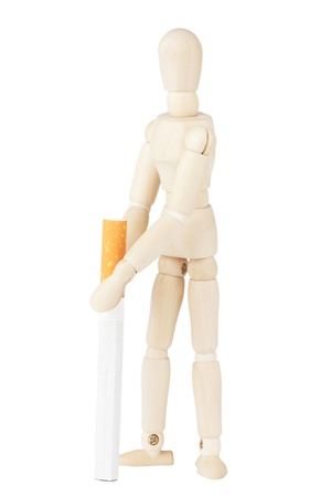 Closeup dummy with cigarette on the white background Stock Photo - 12787623