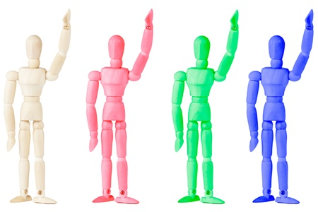 Conceptual colorful Wooden dummy on the white background photo