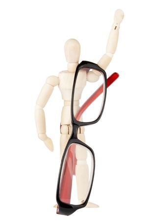 rimmed: Dummy with modern glasses on the white background  Stock Photo
