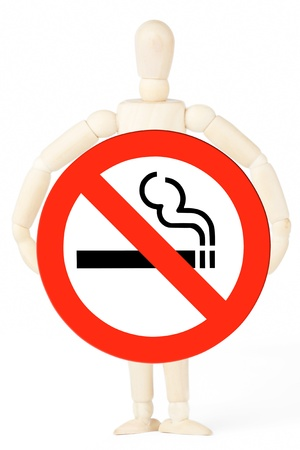 No Smoking Sign in the dummy hand on the white background Stock Photo - 12941316