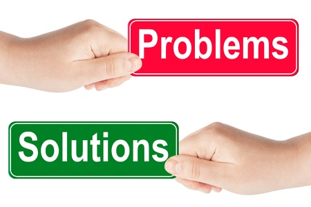 Problems and Solutions traffic sign in the hand on the white background photo