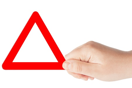 Triangular blank red road signs with hand on a white background Stock Photo - 13081445