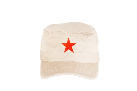 Communist hat with red star on a white background photo