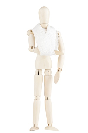 orthopaedic: Wooden dummy with fracture hand on a white background Stock Photo