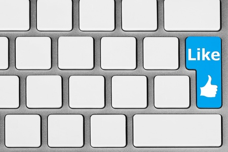 Social network concept. Blank Keyboard with blue Like button Stock Photo - 13265630