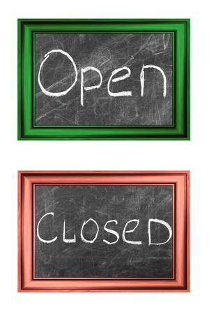 Open and closed signs white chalk handwriting in  wood frames photo